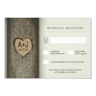 Carved Initials Heart Oak Tree Wedding RSVP Cards