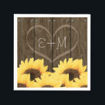 """CARVED INITIALS INSIDE HEART RUSTIC SUNFLOWER PAPER NAPKIN<br><div class=""""desc"""">A SUNFLOWER DESIGN WITH COUNTRY CHARM AND A RUSTIC FEEL WITH A WOOD GRAIN WOODEN FENCE OR BARREL LOOK DESIGN AND A NAIL HEAD TRIM. ADD THE INITIALS OF A BRIDE AND GROOM OR HAPPY COUPLE INSIDE THE CARVED HEART DESIGN. A BOUQUET OF GOLDEN YELLOW SUNFLOWERS HAVE A VINTAGE AND...</div>"""