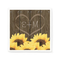 CARVED INITIALS INSIDE HEART RUSTIC SUNFLOWER PAPER NAPKIN