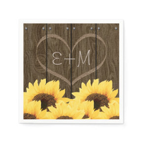 CARVED INITIALS INSIDE HEART RUSTIC SUNFLOWER STANDARD COCKTAIL NAPKIN