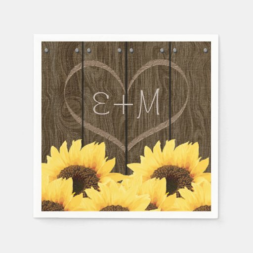 CARVED INITIALS INSIDE HEART RUSTIC SUNFLOWER Disposable Napkins