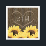"CARVED INITIALS INSIDE HEART RUSTIC SUNFLOWER PAPER NAPKINS<br><div class=""desc"">A SUNFLOWER DESIGN WITH COUNTRY CHARM AND A RUSTIC FEEL WITH A WOOD GRAIN WOODEN FENCE OR BARREL LOOK DESIGN AND A NAIL HEAD TRIM. ADD THE INITIALS OF A BRIDE AND GROOM OR HAPPY COUPLE INSIDE THE CARVED HEART DESIGN. A BOUQUET OF GOLDEN YELLOW SUNFLOWERS HAVE A VINTAGE AND...</div>"
