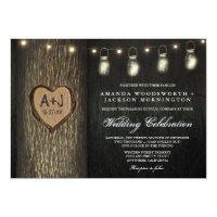 Carved Initials Jars Oak Tree Wedding Invitations