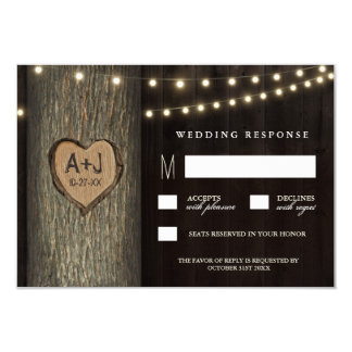 Carved Initials Old Oak Tree Wedding RSVP Cards