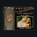 "Carved Initials Old Oak Tree Wedding Save The Date Magnet<br><div class=""desc"">Carved Initials Old Oak Tree Wedding Save The Date Magnets - features an old wood background with an old oak tree and string lights.  See the full matching collection below.</div>"