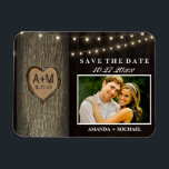 """Carved Initials Old Oak Tree Wedding Save The Date Magnet<br><div class=""""desc"""">Carved Initials Old Oak Tree Wedding Save The Date Magnets - features an old wood background with an old oak tree and string lights.  See the full matching collection below.</div>"""