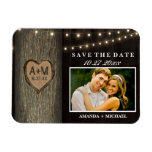 Carved Initials Old Oak Tree Wedding Save The Date Magnet