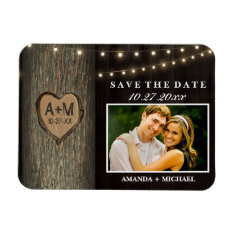 Carved Initials Old Oak Tree Wedding Save The Date Magnet at Zazzle