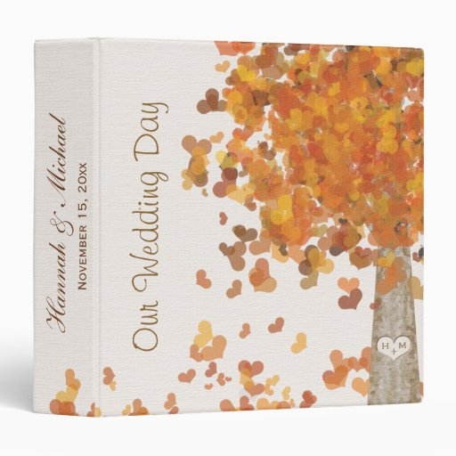 Carved Initials on Tree Fall Wedding Photo Binder