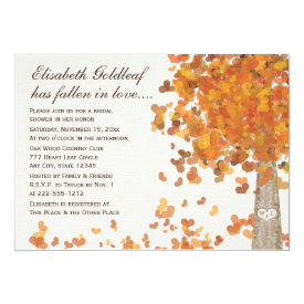 Carved Initials Tree Fall Bridal Shower Invitation