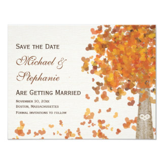 Carved Initials Tree Fall Save the Date Card