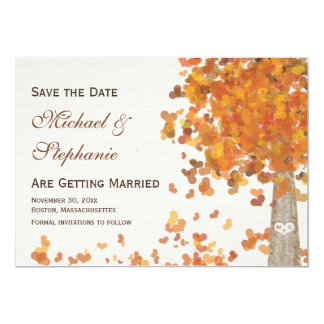Carved Initials Tree Fall Save the Date Wedding 5x7 Paper Invitation Card