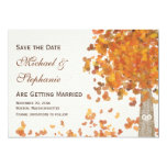 Carved Initials Tree Fall Save the Date Wedding Card