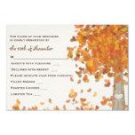 "Carved Initials Tree Wedding RSVP Response Card 3.5"" X 5"" Invitation Card"
