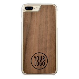 Carved iPhone 7 Plus Case Walnut Wood Custom Logo