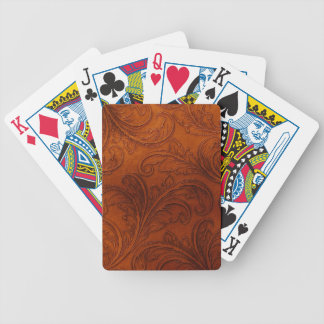 Carved Leather Look Bicycle Playing Cards