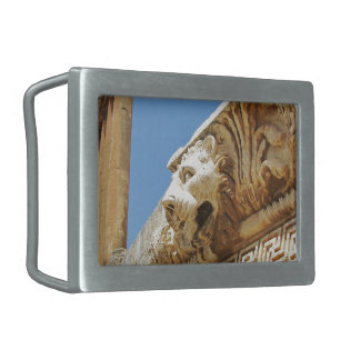 Carved Lion's Head At Baalbek Rectangular Belt Buckle