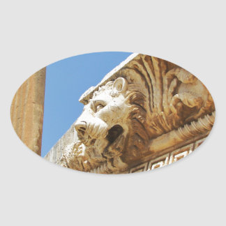 Carved Lion's Head At Baalbek Oval Sticker