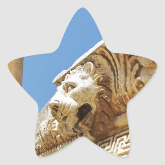 Carved Lion's Head At Baalbek Star Sticker