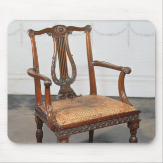 Carved lyre-back chair, supplied by mouse pad
