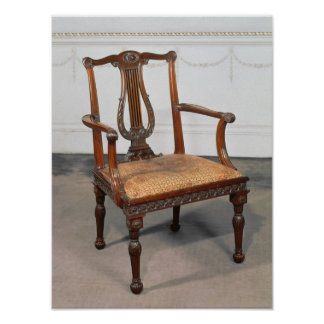 Carved lyre-back chair, supplied by print