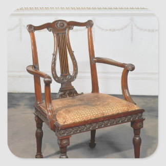 Carved lyre-back chair, supplied by square sticker