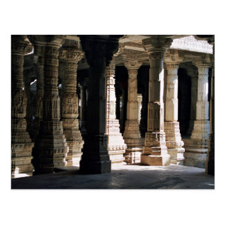 Carved marble temple columns and shadows postcard