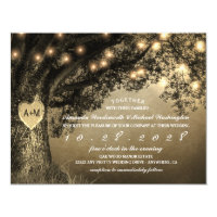 Carved Oak Tree Vintage Rustic Wedding Invitations