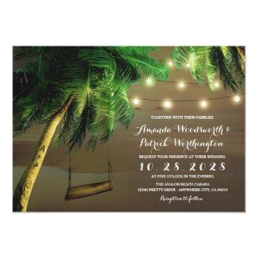 Valentines Themed Carved Palm Tree Beach Lights Wedding Invitations