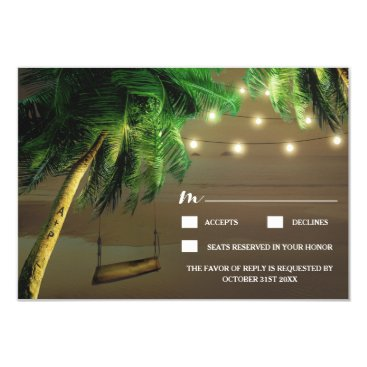 Valentines Themed Carved Palm Tree Beach Lights Wedding RSVP Cards