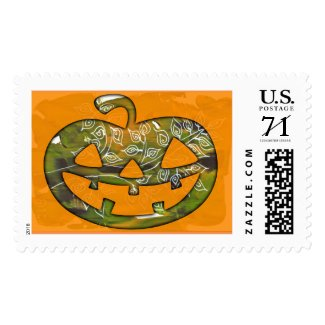 Carved pumkin Happy Halloween - holiday stamp