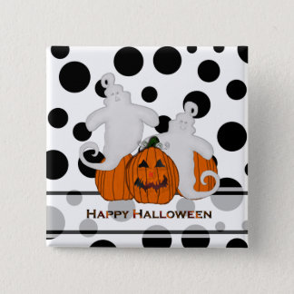 Carved Pumpkin and Ghost Halloween Button