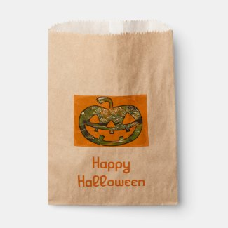 Carved Pumpkin & Happy Halloween custom favor bag