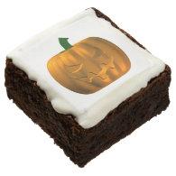 Carved Pumpkin Head Square Brownie