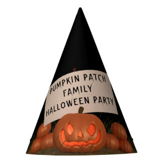 Carved Pumpkin Patch Family Halloween Party Hat