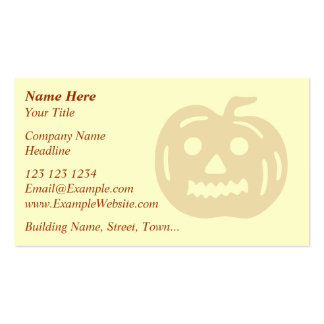 Carved Pumpkin Silhouette with Teeth. Business Card Template