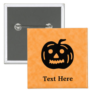 Carved Pumpkin Silhouette with Teeth. Pinback Buttons