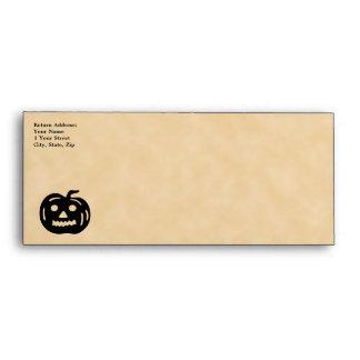 Carved Pumpkin Silhouette with Teeth. Envelope