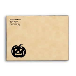 Carved Pumpkin Silhouette with Teeth. Envelopes