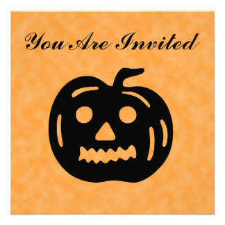 Carved Pumpkin Silhouette with Teeth. Personalized Invitation