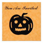 """Carved Pumpkin Silhouette with Teeth. 5.25"""" Square Invitation Card"""