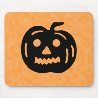 Carved Pumpkin Silhouette with Teeth. Mousepad