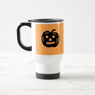 Carved Pumpkin Silhouette with Teeth. Mugs