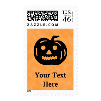 Carved Pumpkin Silhouette with Teeth. Postage