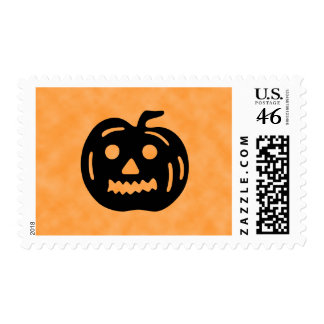 Carved Pumpkin Silhouette with Teeth. Postage Stamp