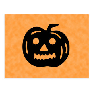 Carved Pumpkin Silhouette with Teeth. Postcards