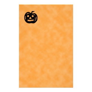 Carved Pumpkin Silhouette with Teeth. Stationery Design