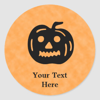 Carved Pumpkin Silhouette with Teeth. Round Stickers