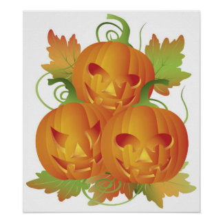 Carved Pumpkins with Vines Poster