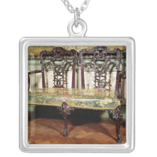 Carved sofa, with tapestry seat, similar to square pendant necklace